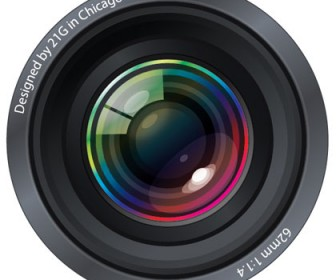 Realistic Camera Lens Vector Illustration