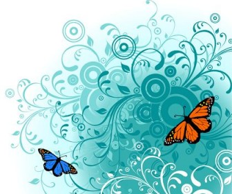 Flowers & Butterfly Background