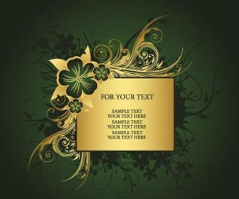 Golden Floral Antique Card
