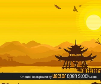 Oriental Landscape Vector