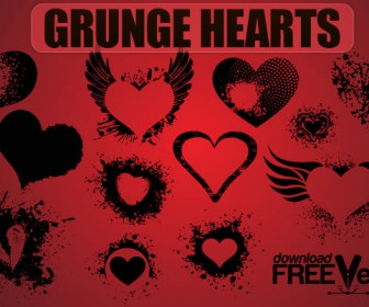 Grunge Hearts Silhouettes