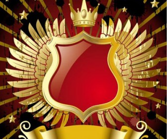 Gold Wings Red Banner