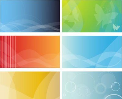 6 colorful business cards background free vector art