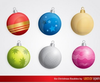 6 Christmas Baubles Vector