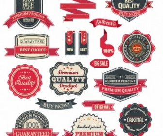 Badge And Ribbon Set Vector Art