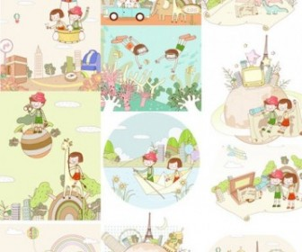 Travel Theme Vector Fantasy Children Drawings Vector Art