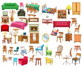 A Variety Of Furniture Clip Art Vector Art