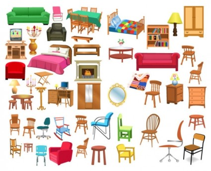 A Variety Of Furniture Clip Art Vector
