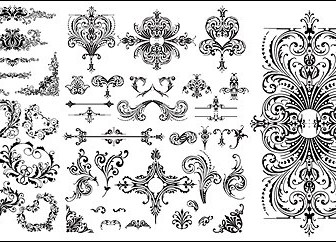 Variety Of Practical European-style Lace Pattern Vector Material Flower Vector Art