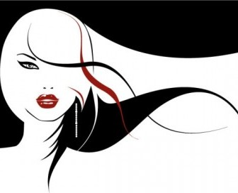 Vector Girls With Long Hair Flowing People Vector Art