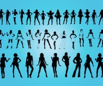 Sexy Girls Silhouettes People Vector Art