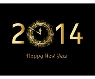 Happy New Year Background With Gold Clock Vector Art