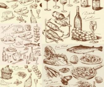 Handdrawn Line Draft Kitchen Food Elements Vector Vector Art