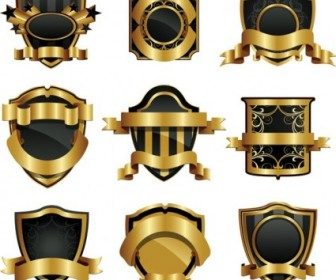 Gold Shield Badge Vector Vector Art