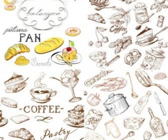 Line Drawing Of Food And Kitchen Utensils Vector Vector Art