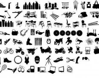 Black And White Design Elements Vector Series 12 Items Silhouette Silhouettes Vector Graphics