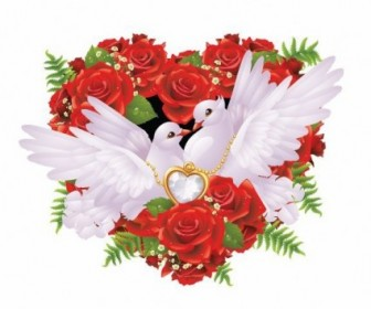 Roses And Pigeons Vector Illustration Vector Art
