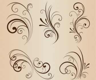 Vector Set Of Swirling Flourishes Decorative Floral Elements Floral Vector Art