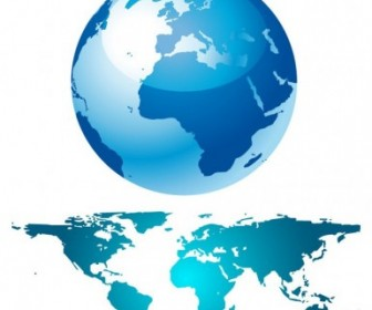 Blue Globe And World Map Vector Art