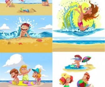 cartoon children summer beach vector cartoon vector art ai svg