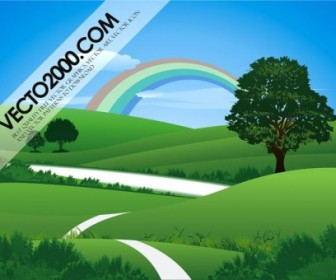 Fresh Green Landscape With Rainbow Landscape Vector Graphics
