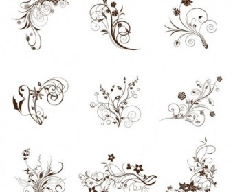 Vector Illustration Set Of Swirling Flourishes Decorative Floral Elements Floral Vector Art