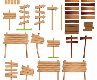 Wood Signs Vector Art