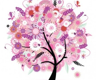 Tree With Flowers Vector Illustration Flower Vector Art