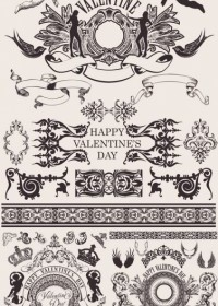 European Gorgeous Valentine Day Theme Classic Lace Pattern Vector Pattern Vector Art