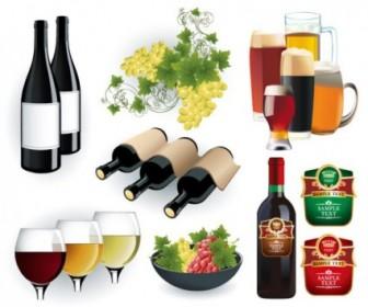 Wine And Beer Vector Vector Art
