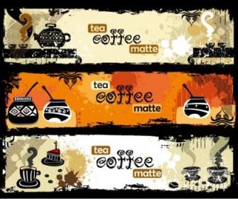 Tea And Coffee Theme Banner Vector Vector Banner