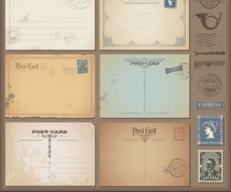 Vintage Postcards And Stamps 06 Vector Vector Art