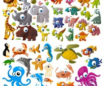 Cute Cartoon Animals Vector Cartoon Vector Art