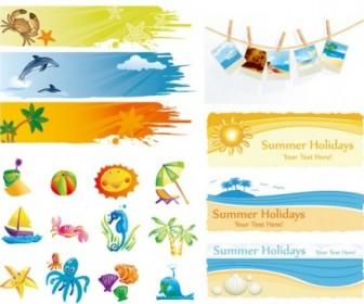 Elements Of Vector Cute Summer Vector Art