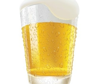 Lifelike Beer Glasses And Beer Bubbles Vector Graphic Vector Art