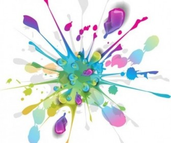 Splashes Of Colorful Ink Vector Art Vector Art