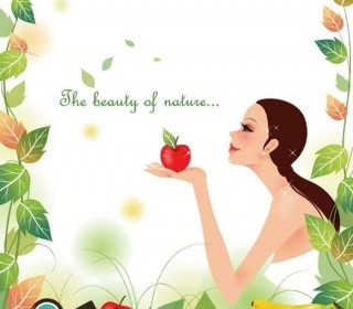 Beautiful Girl With Nature Background Vector Illustration Background Vector Art