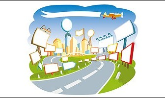 A Road With Many Big Board Banner Landscape Vector Graphics