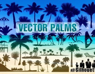 Vector Palms Silhouettes Vector Graphics