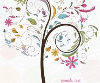 Abstract Swirl Floral Tree Vector Graphic Floral Vector Art