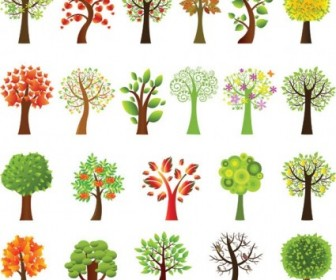 A Variety Of Lovely Trees Vector Tree Plant Vector Graphics