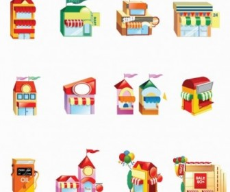 Vector Shop Building Icon Set Icon Vector Graphics