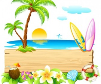 Beautiful Summer Card 01 Vector Vector Art