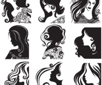Female Head Pattern Vector Pattern Vector Art