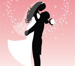 Bride And Groom Silhouette Vector Graphic Silhouettes Vector Graphics
