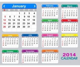 Flat 2014 Calendar Vector Art