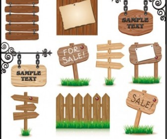 Wood Signs 02 Vector Vector Art