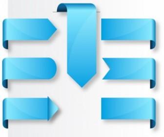 Blue Ribbon Banner Label Tags Web Design Vector Graphics
