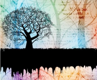 Tree Silhouette Background 01 Vector Background Vector Art