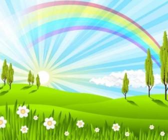 Green Grass Rainbow Vector Background Background Vector Art